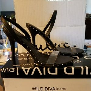 Black Slingback Heels with studs, Size 8.5
